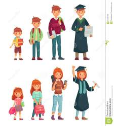 cartoon different student students primary junior ages college growing boys pupil education vector illustration clip preview