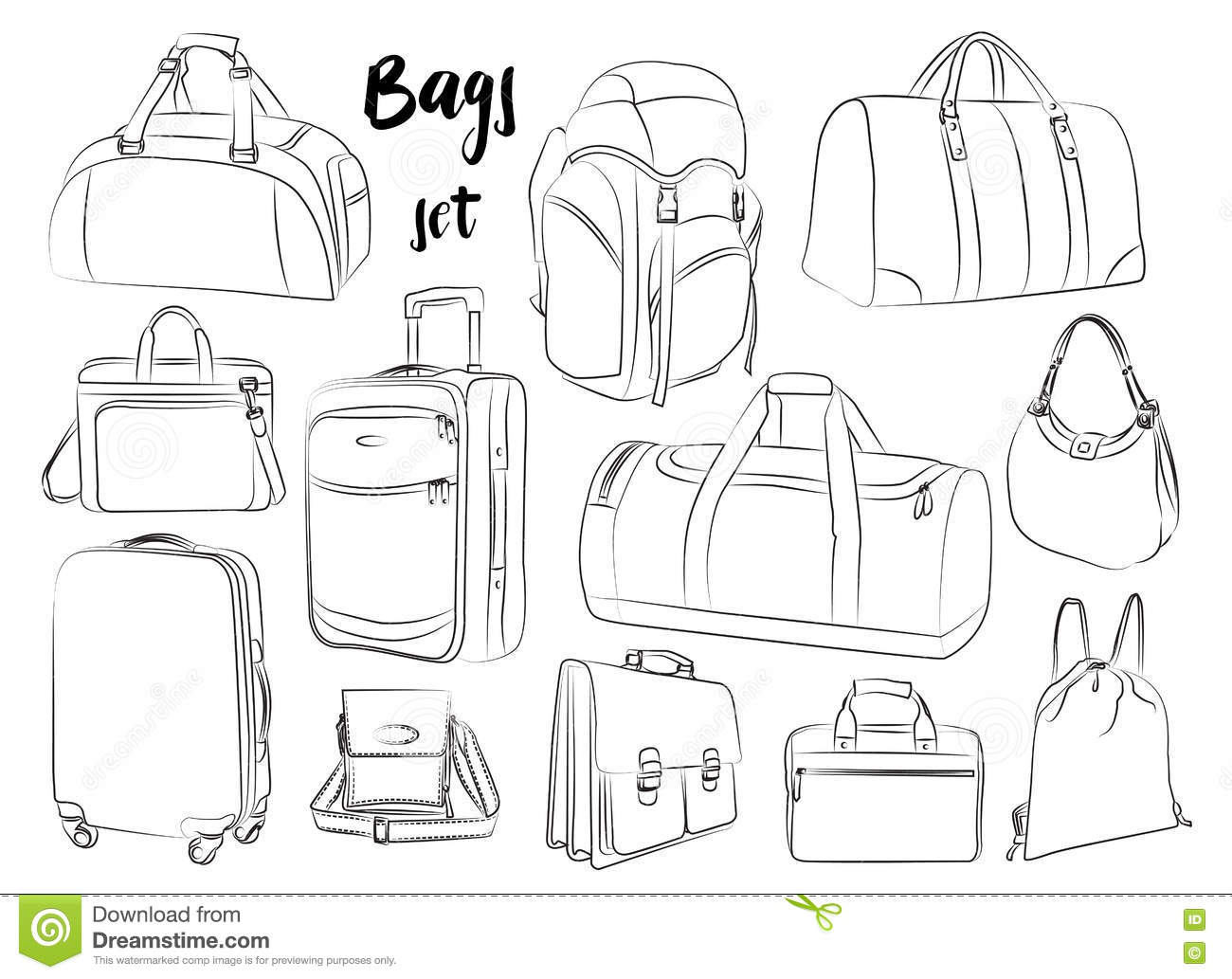 Different Bags Set Stock Vector Illustration Of Luggage