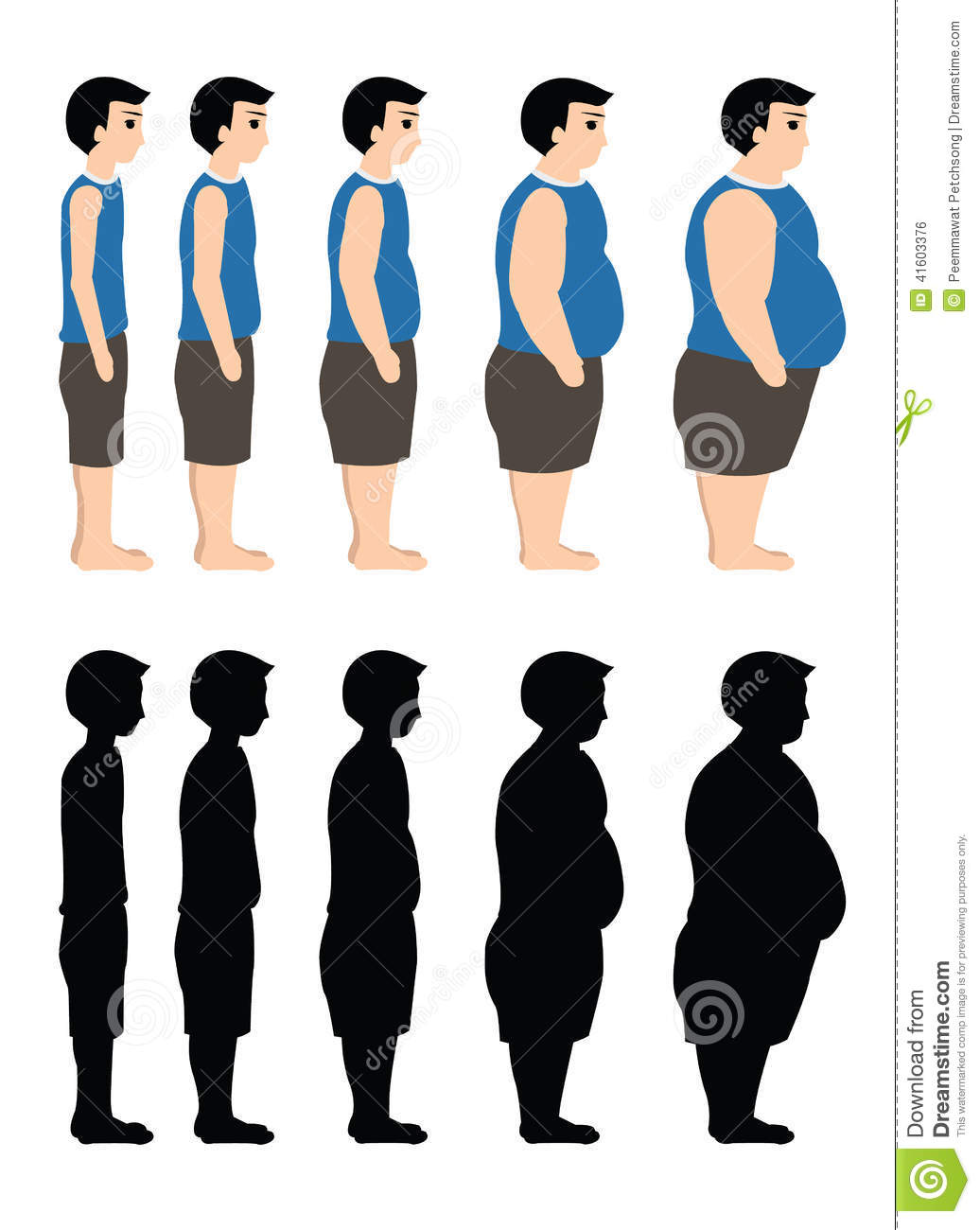 Different Body Mass From Thin To Fat Also In Silhouette