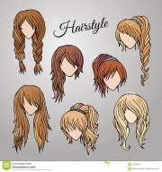 cartoon hairstyles stock