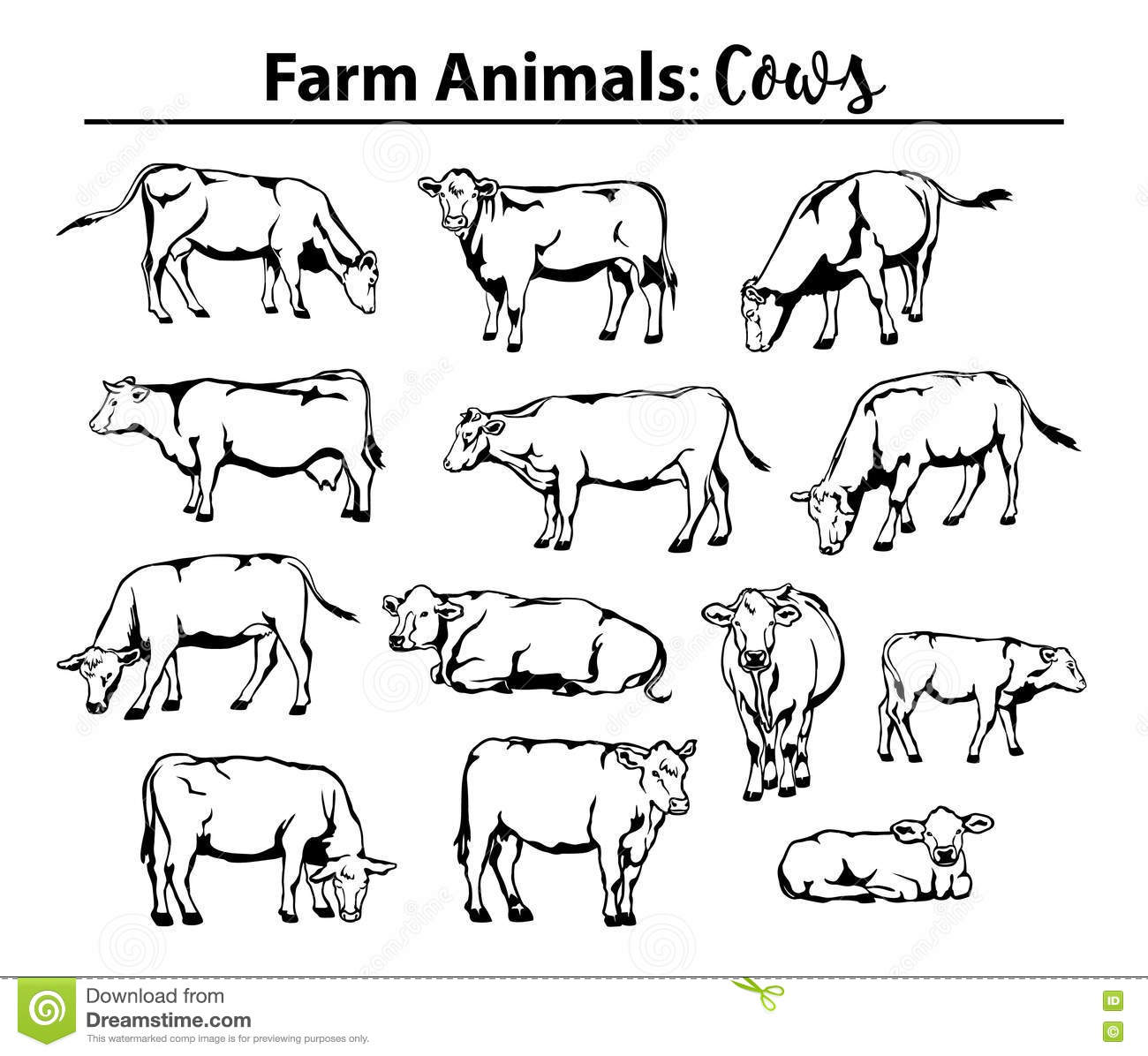 Different Cows Set In Contour Outline Stock Vector