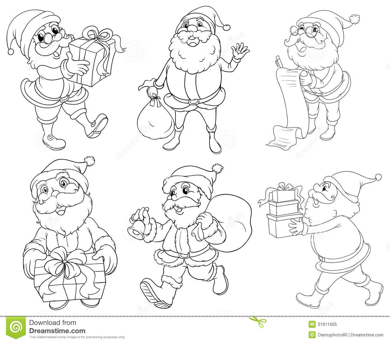 Different Drawings Of Santa Claus Giving Ts Stock