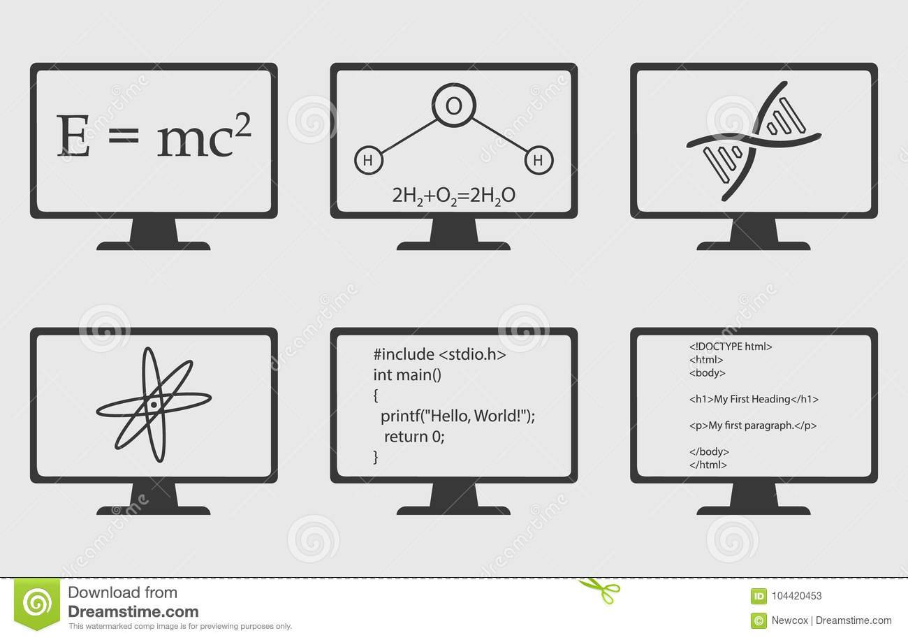 Different Engineering Subject Icon Set Are On Computer