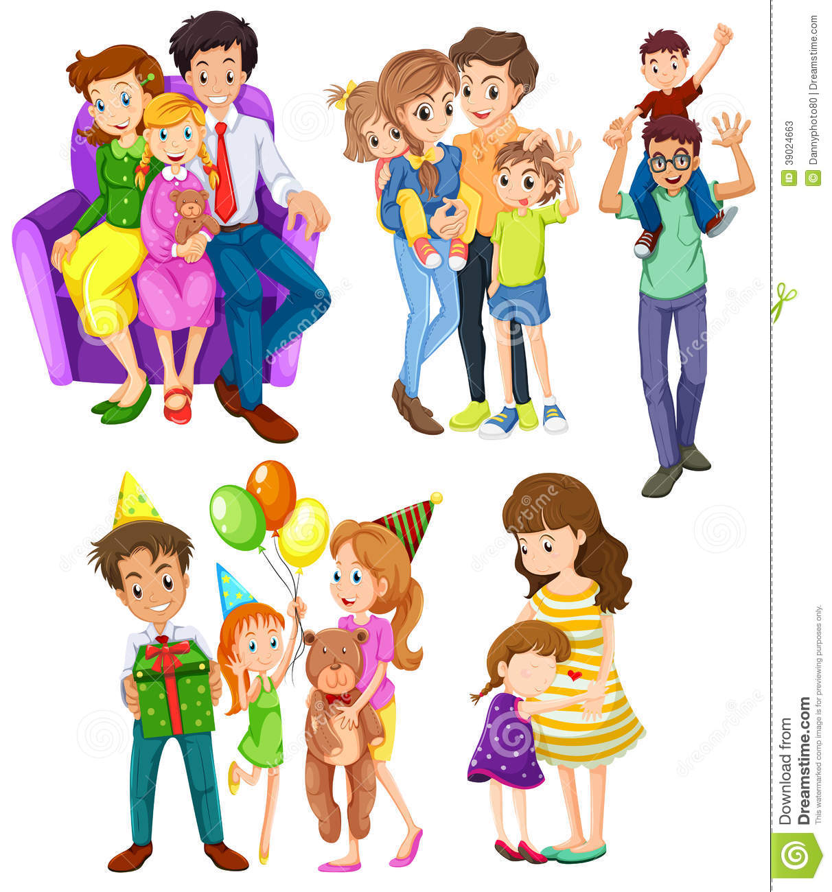 Different Families Stock Vector Illustration Of Hugging
