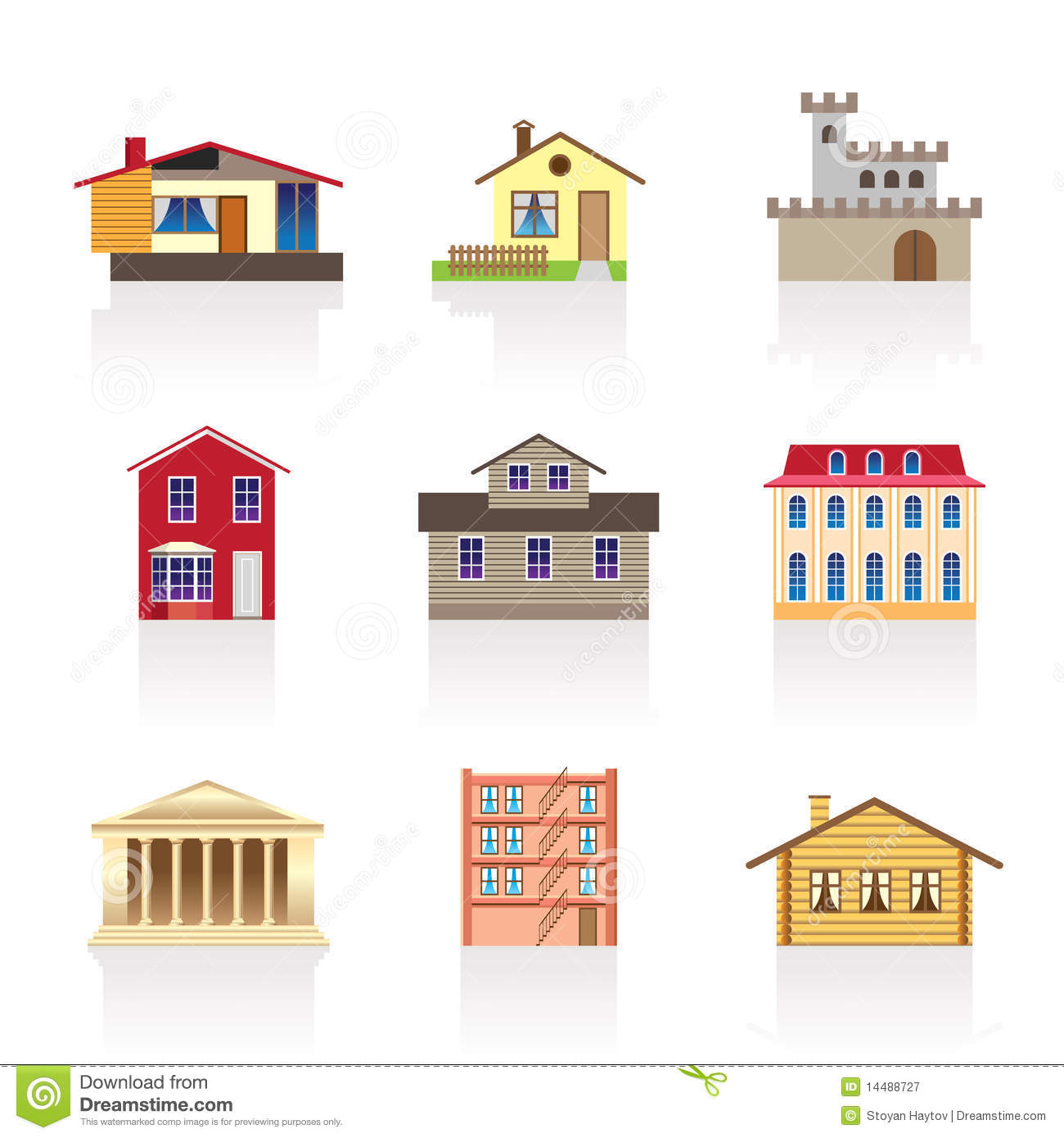 Different Kind Of Houses And Buildings 1 Royalty Free