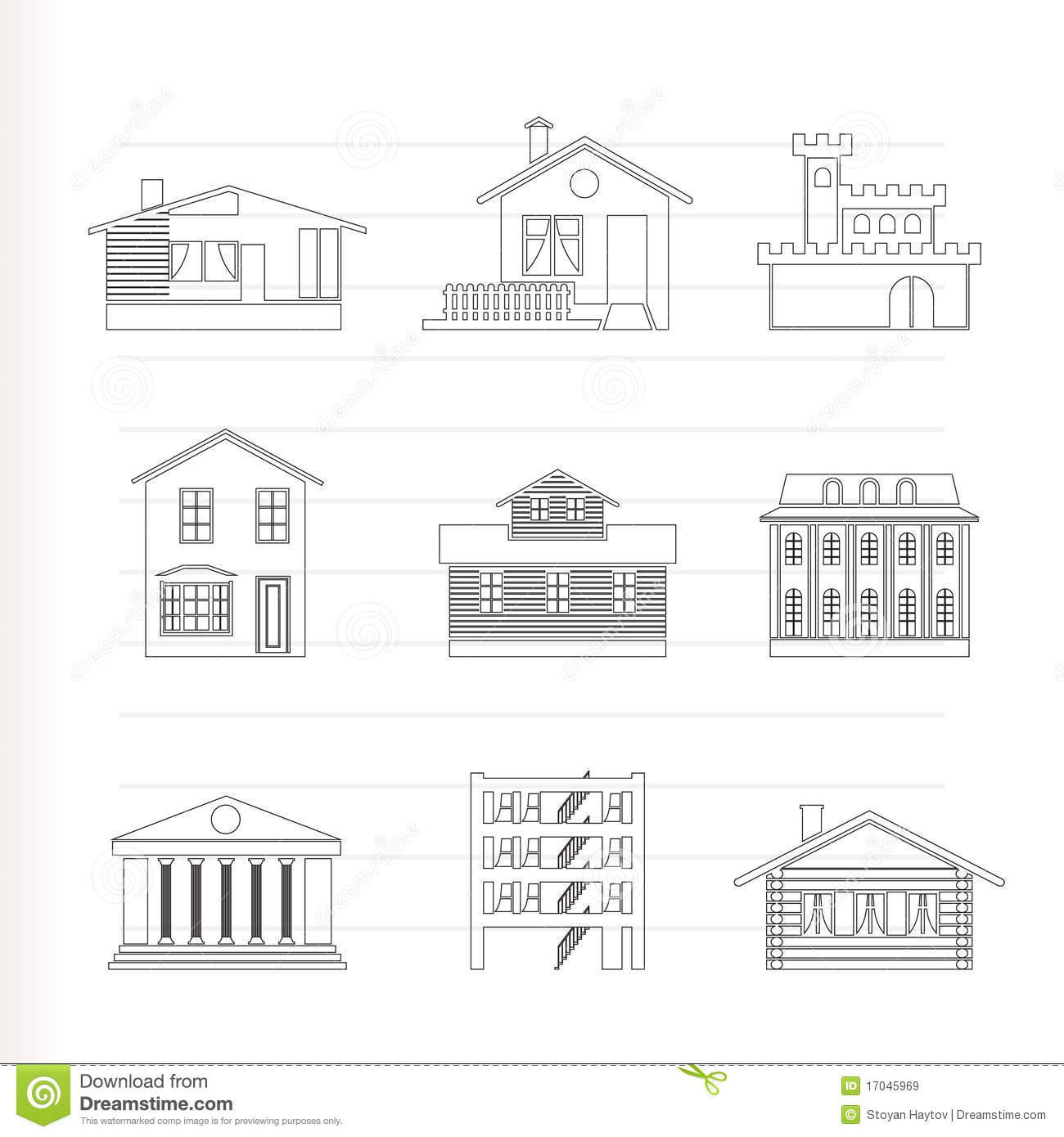 Different Kind Of Houses And Buildings Royalty Free Stock