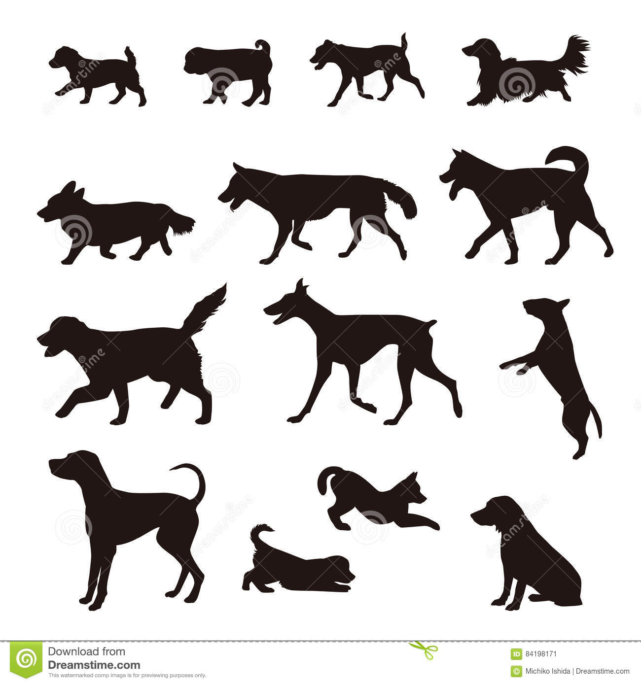 Different Kinds Of Dog Silhouette Stock Vector
