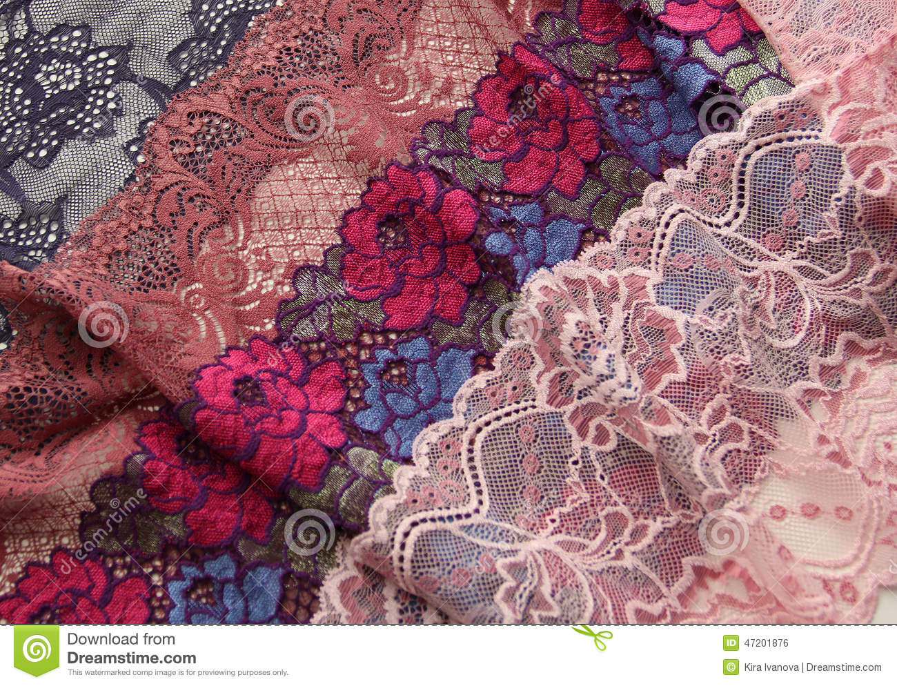 Different Kinds Of Lace Materials And Textures Stock Photo