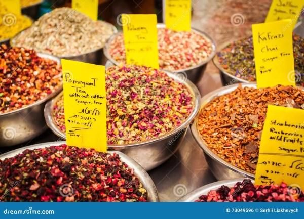 Kinds Of Natural Tea Counter Market Stock