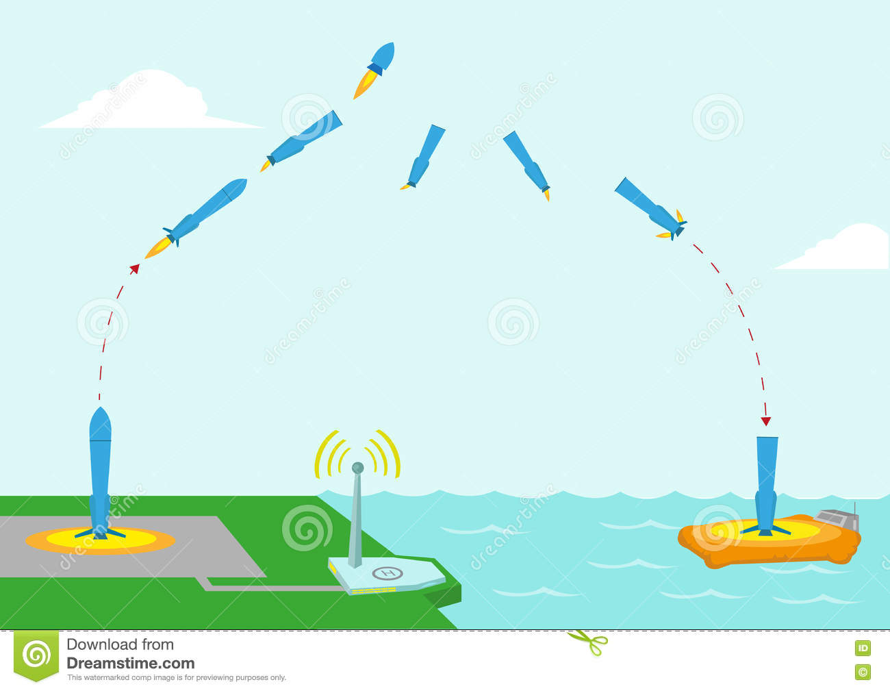 hight resolution of different stages diagram of a reusable rocket concept editable clip art