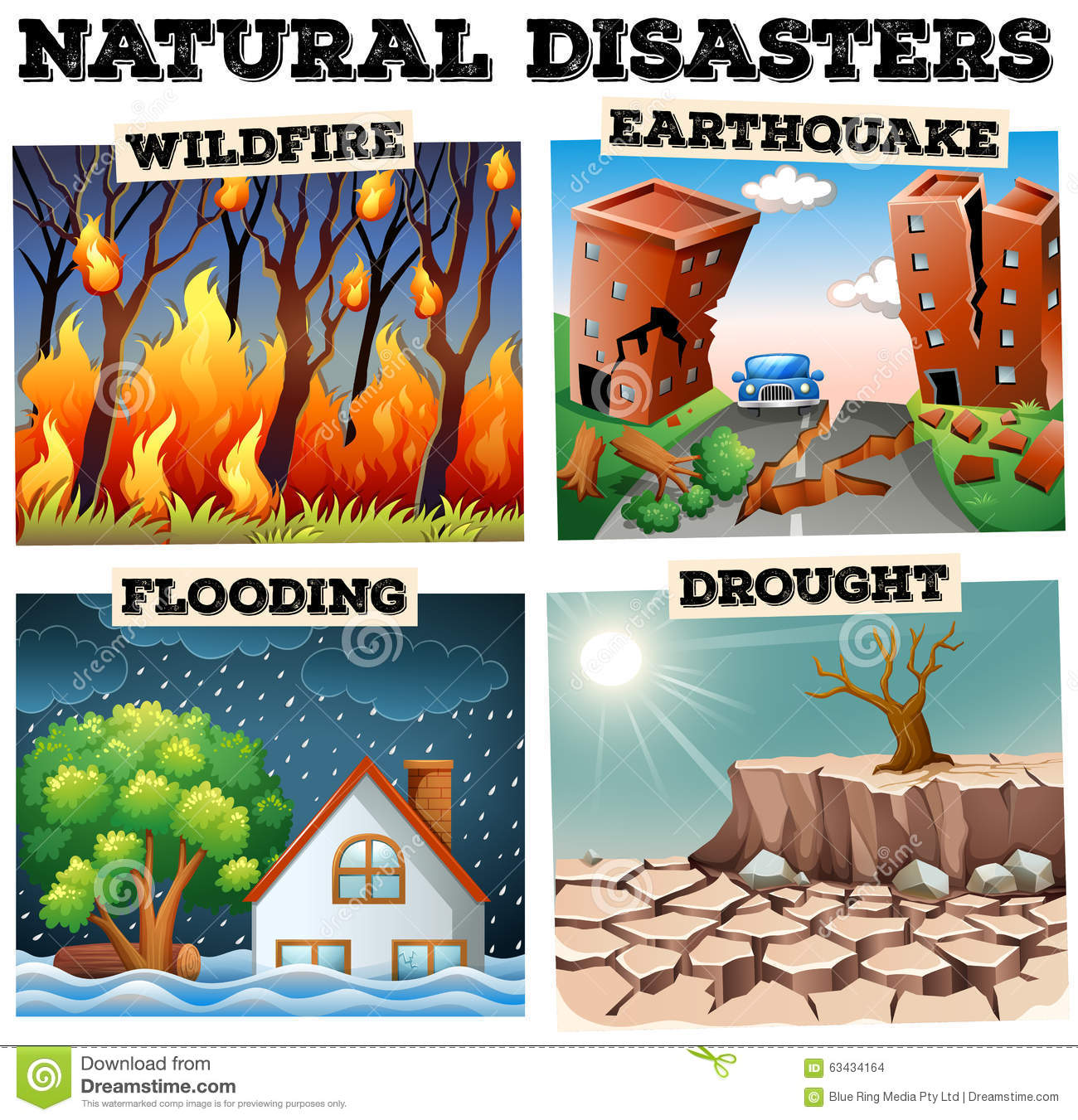 Different Type Of Natural Disasters Stock Vector
