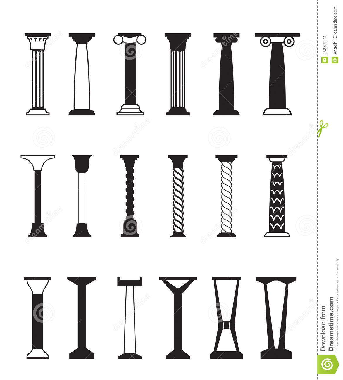 Different Types Of Columns Stock Vector Illustration Of
