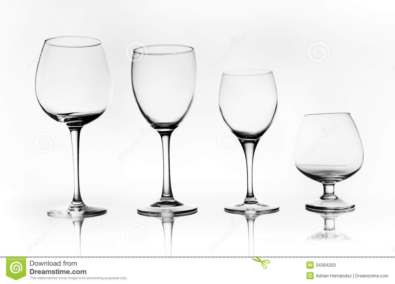 Different Types Of Glass Cups Stock Image