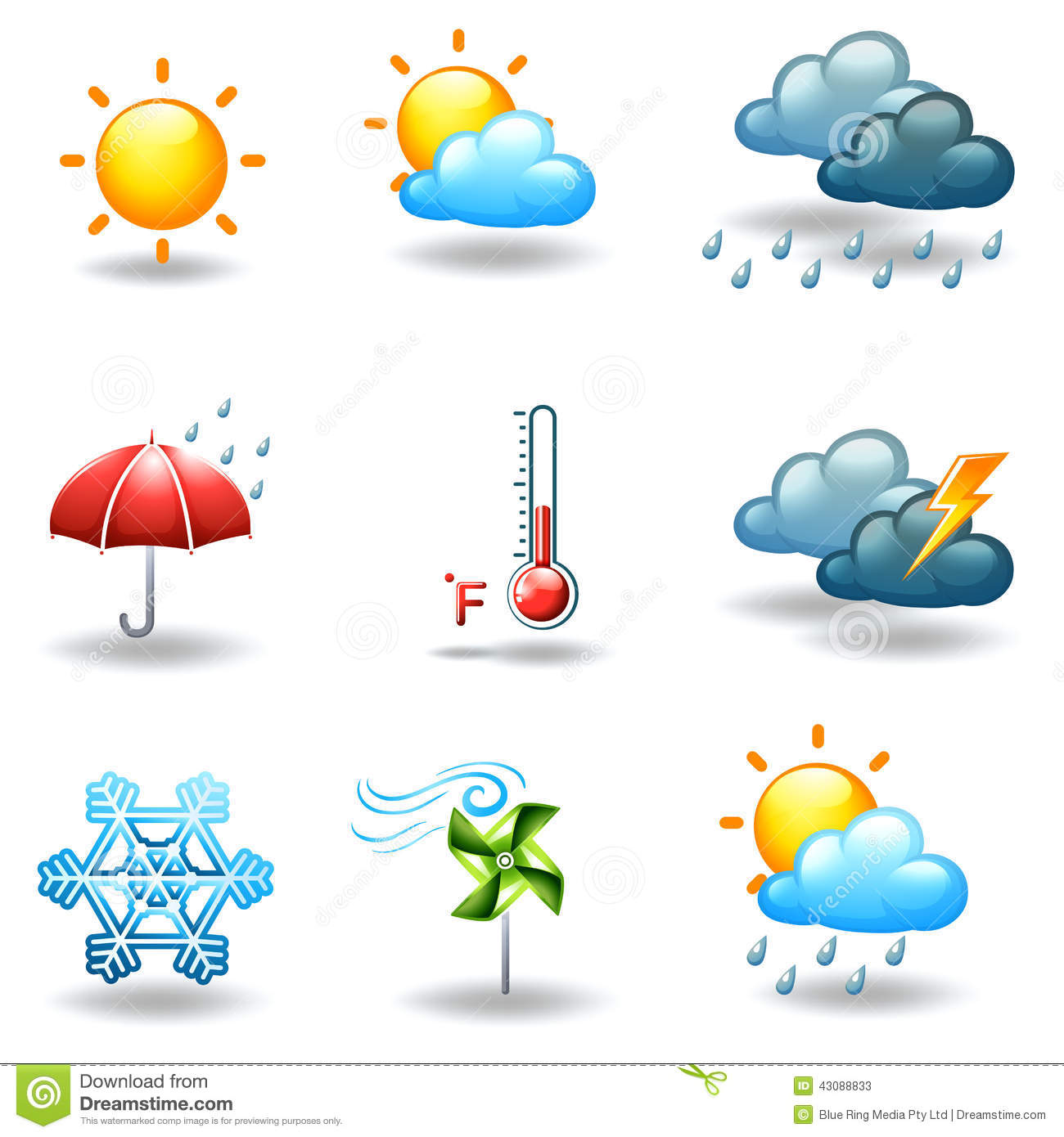 Different Weather Conditions Stock Vector