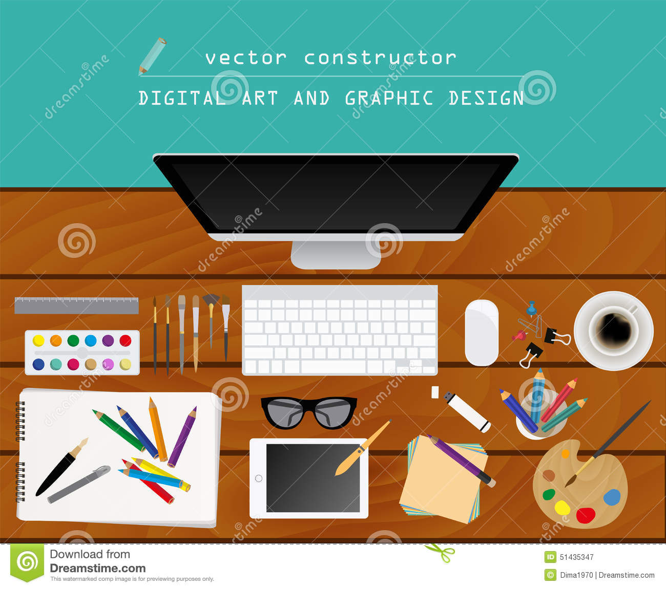 Digital Art And Graphic Design Working Place In Flat Design Co Stock Vector  Image 51435347