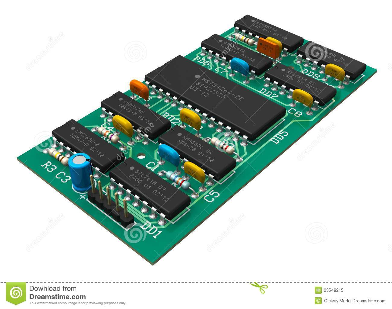 Electronics Industry Concept Digital Circuit Board With Microchips