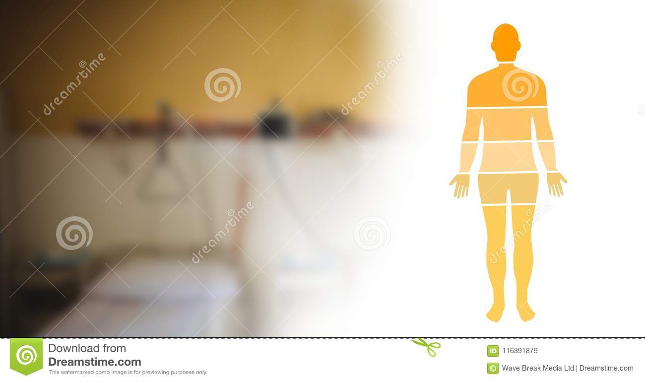 hight resolution of digital composite of human body diagram sections and yellow clinic room transition