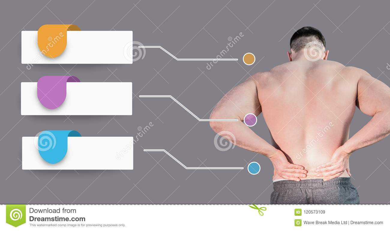 hight resolution of man holding back pain with blank infographic chart panels stock blank pain diagram