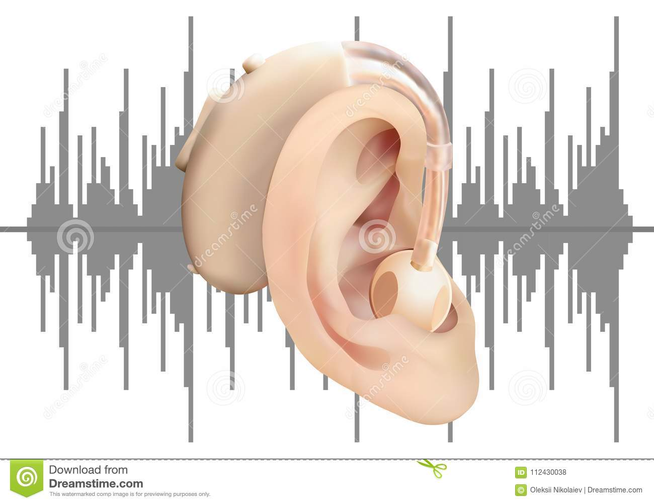 hight resolution of digital hearing aid behind the ear on the background of sound wave diagram treatment