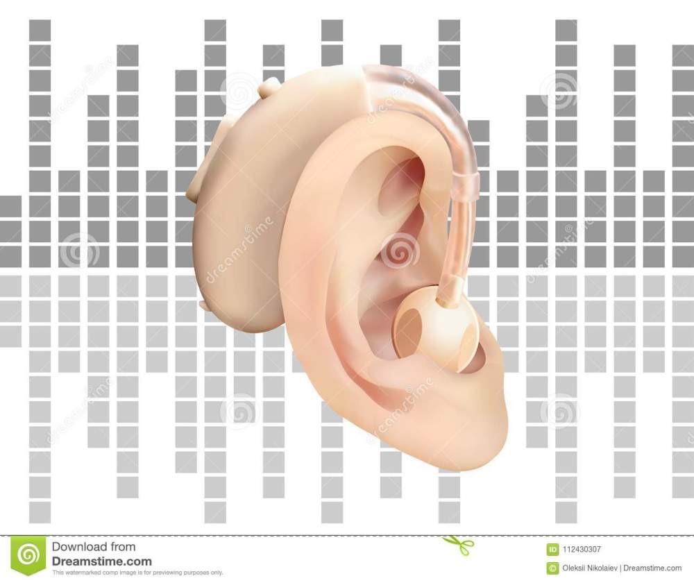 medium resolution of digital hearing aid behind the ear on background of sound wave diagram treatment and prosthetics of hearing loss in otolaryngology