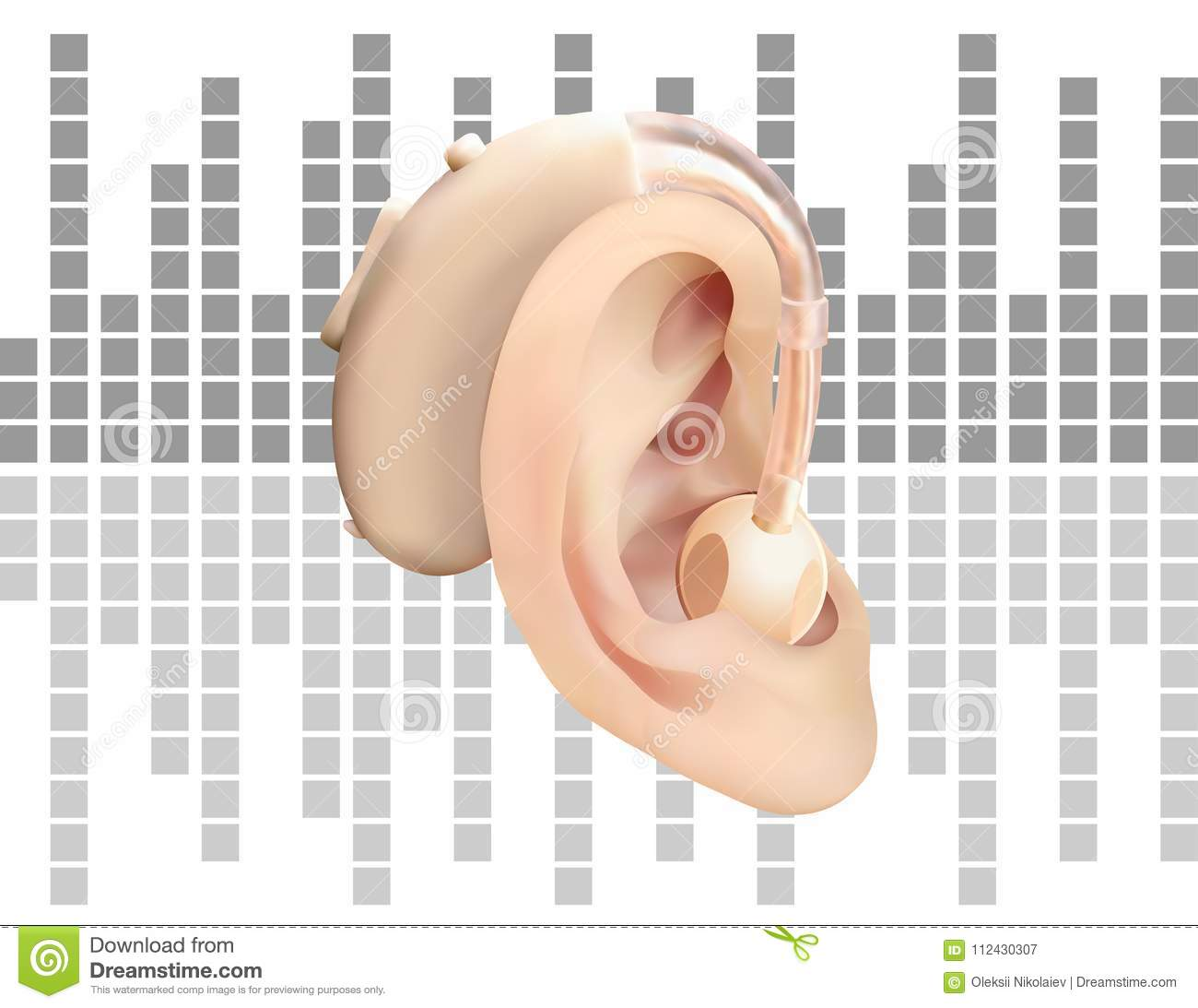 hight resolution of digital hearing aid behind the ear on background of sound wave diagram treatment and prosthetics of hearing loss in otolaryngology