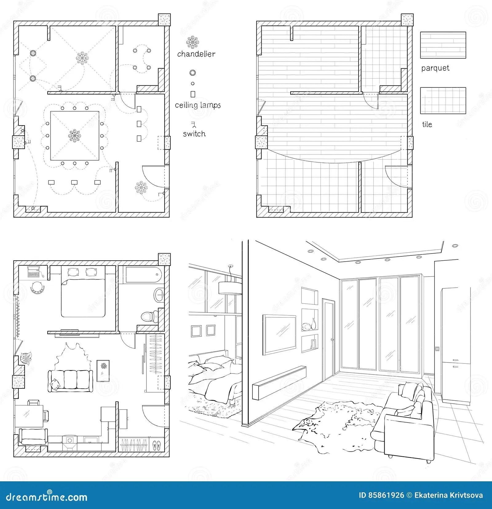 Digital Illustration Floor Plan And Room Sketch. Stock