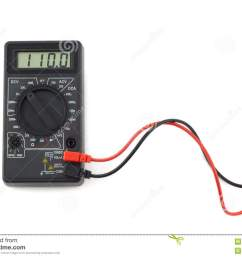 digital multimeter with red and black wires shows 110 volts on lcd display [ 1300 x 984 Pixel ]