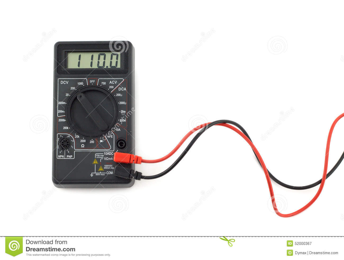 hight resolution of digital multimeter with red and black wires shows 110 volts on lcd display