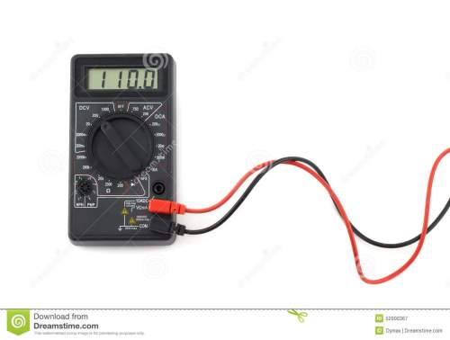 small resolution of digital multimeter with red and black wires shows 110 volts on lcd display