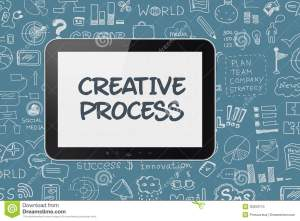 Digital Tablet With Brainstorming Process Background Stock Photo  Image: 30659710