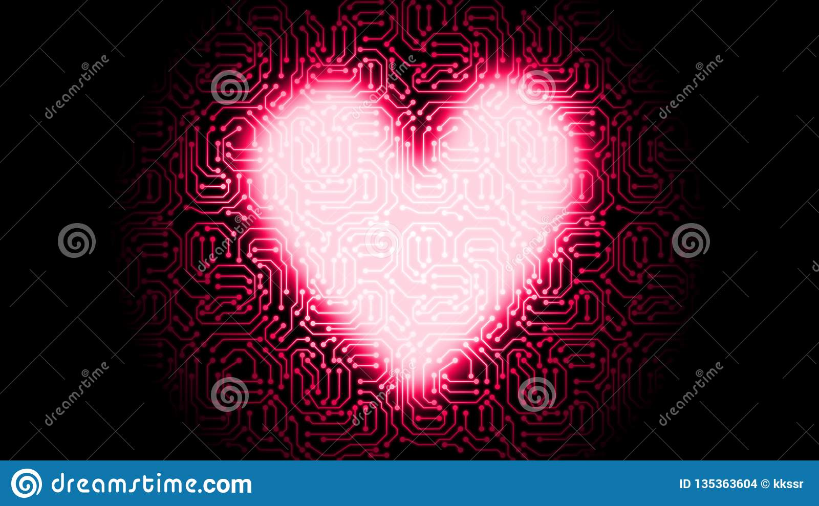 Red Electronic Circuit Board Vector Heart In Technology Valentine