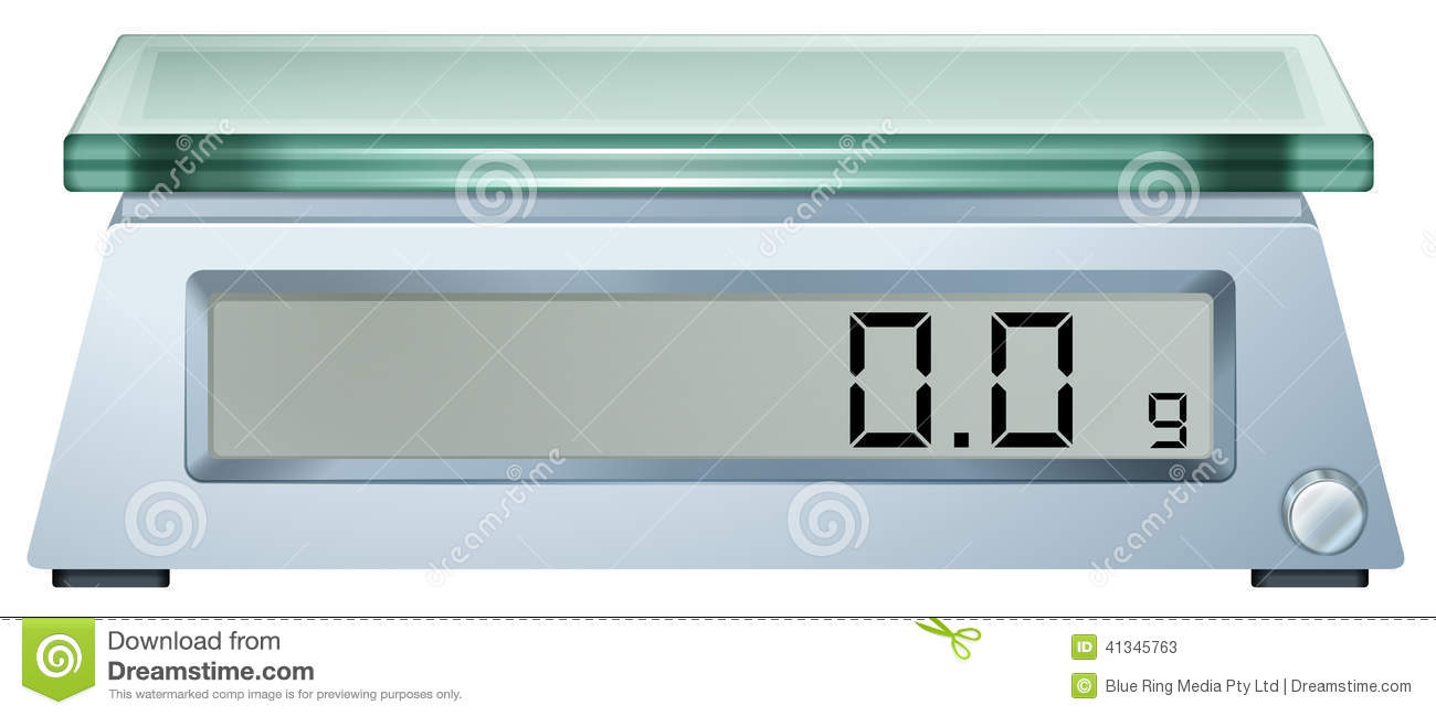 hight resolution of illustration of a digital weighing scale on a white background royalty