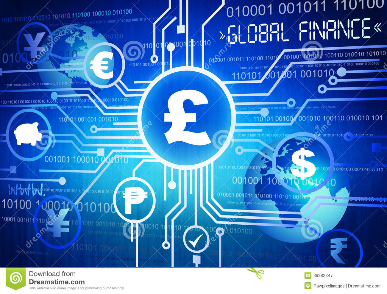 Digitally Different Global Currency Symbols Stock
