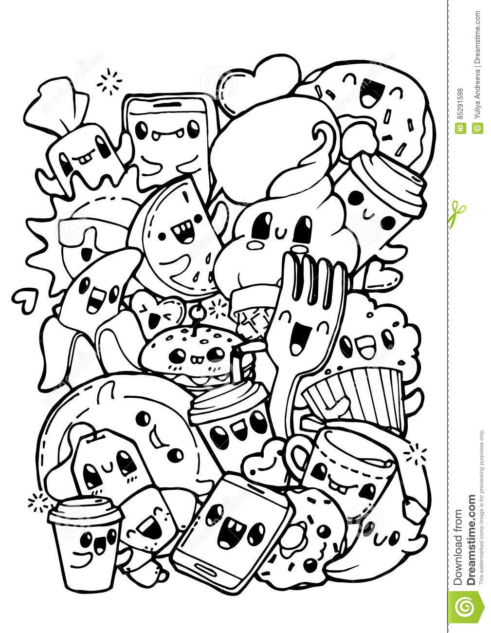 Dining Doodles. Coloring Pages For Kids. Stock Vector