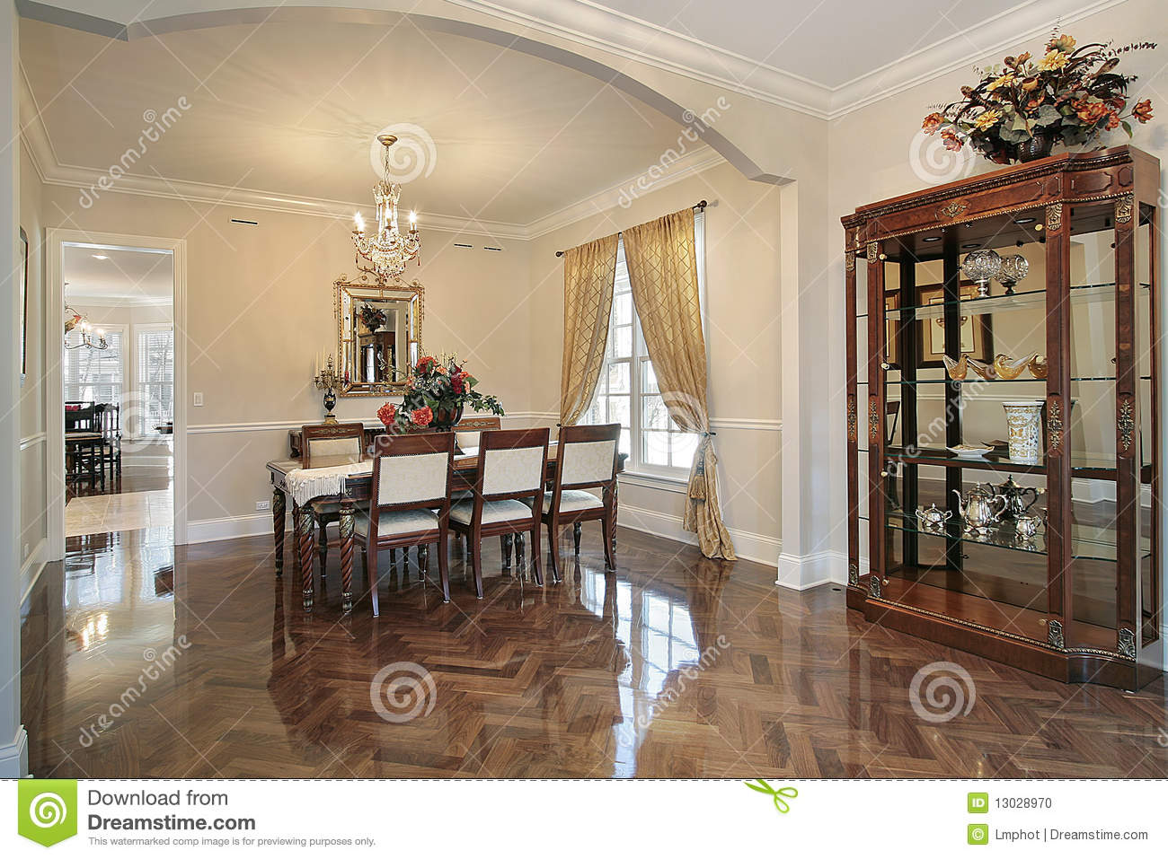 Dining Room With Arched Entry Stock Photo Image 13028970