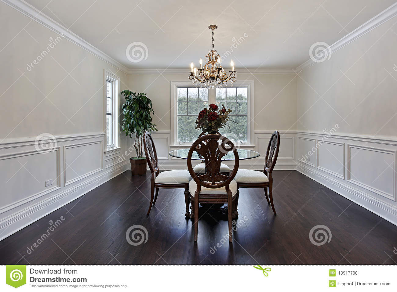 Dining Room With Dark Wood Flooring Stock Photo Image Of Table Chair 13917790