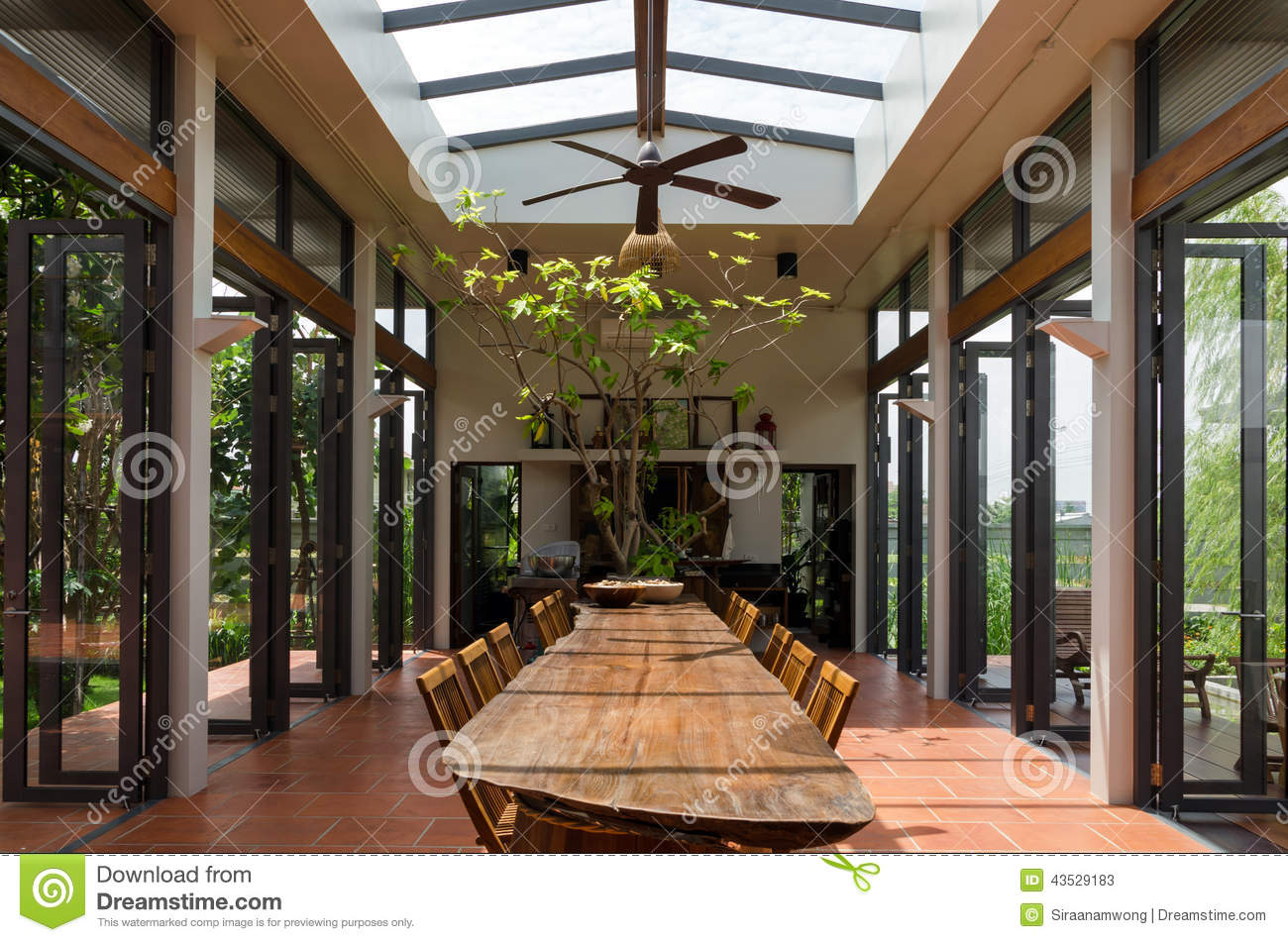 Dining room with skylight stock image. Image of luxury