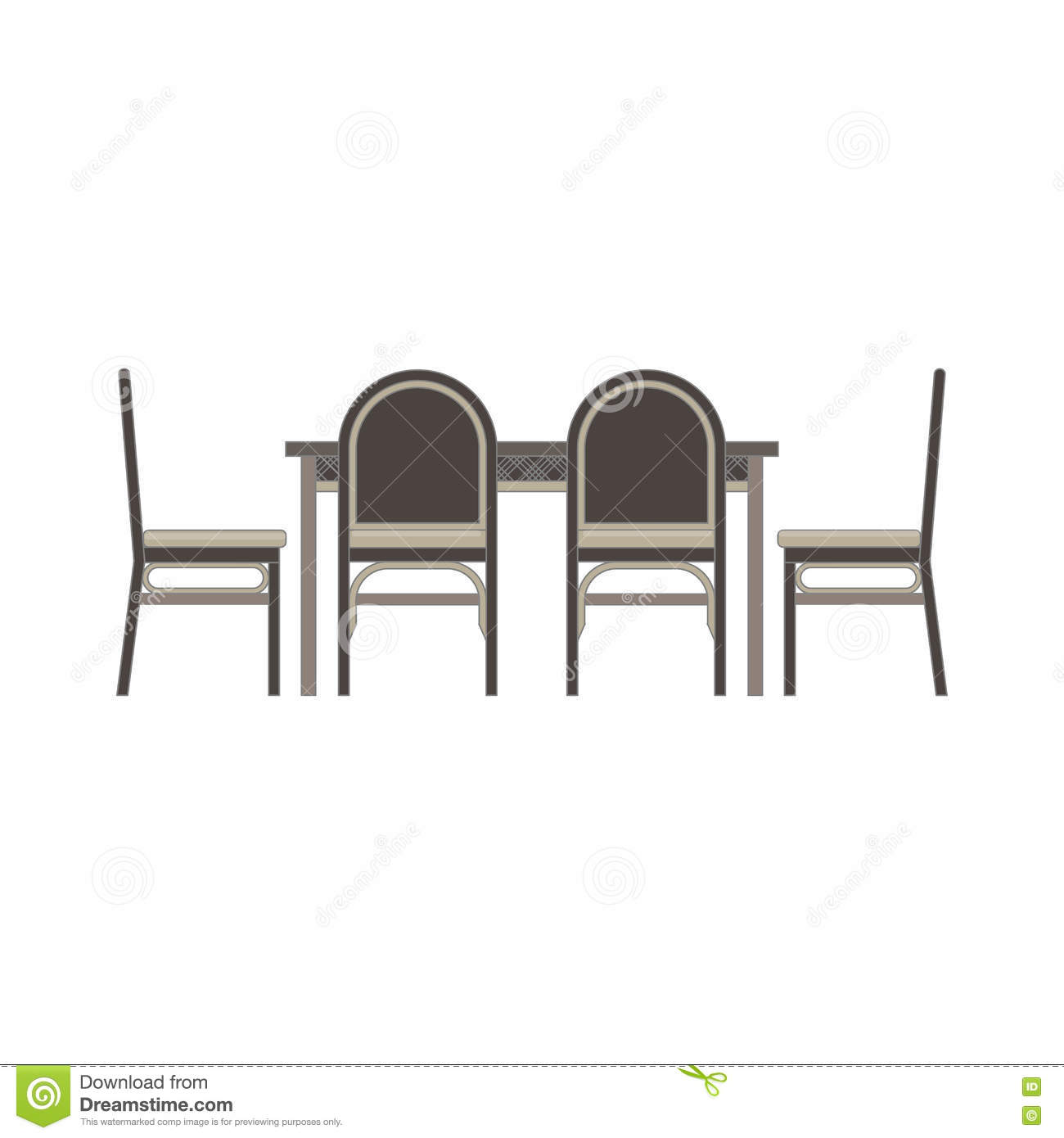 Dining Room Table Chairs Side View Monochrome Flat In