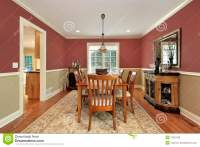Dining Room With Two Toned Walls Stock Photo - Image of ...