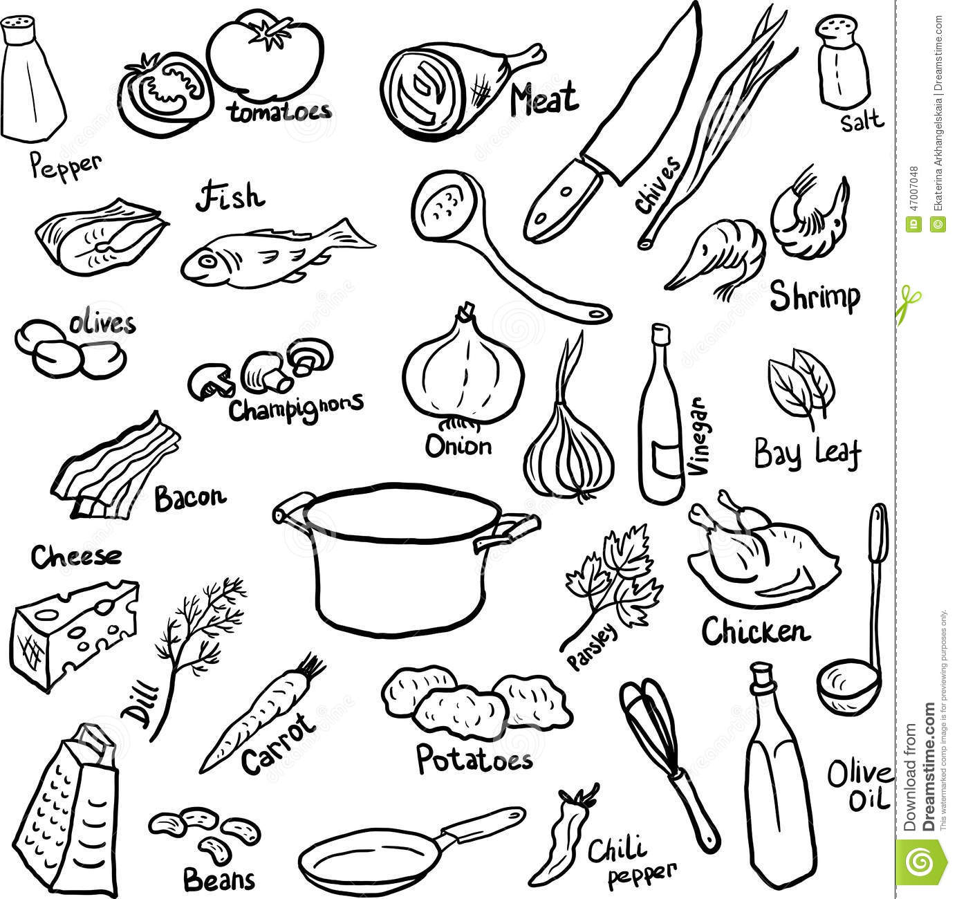 Dinner Doodle Set Stock Vector