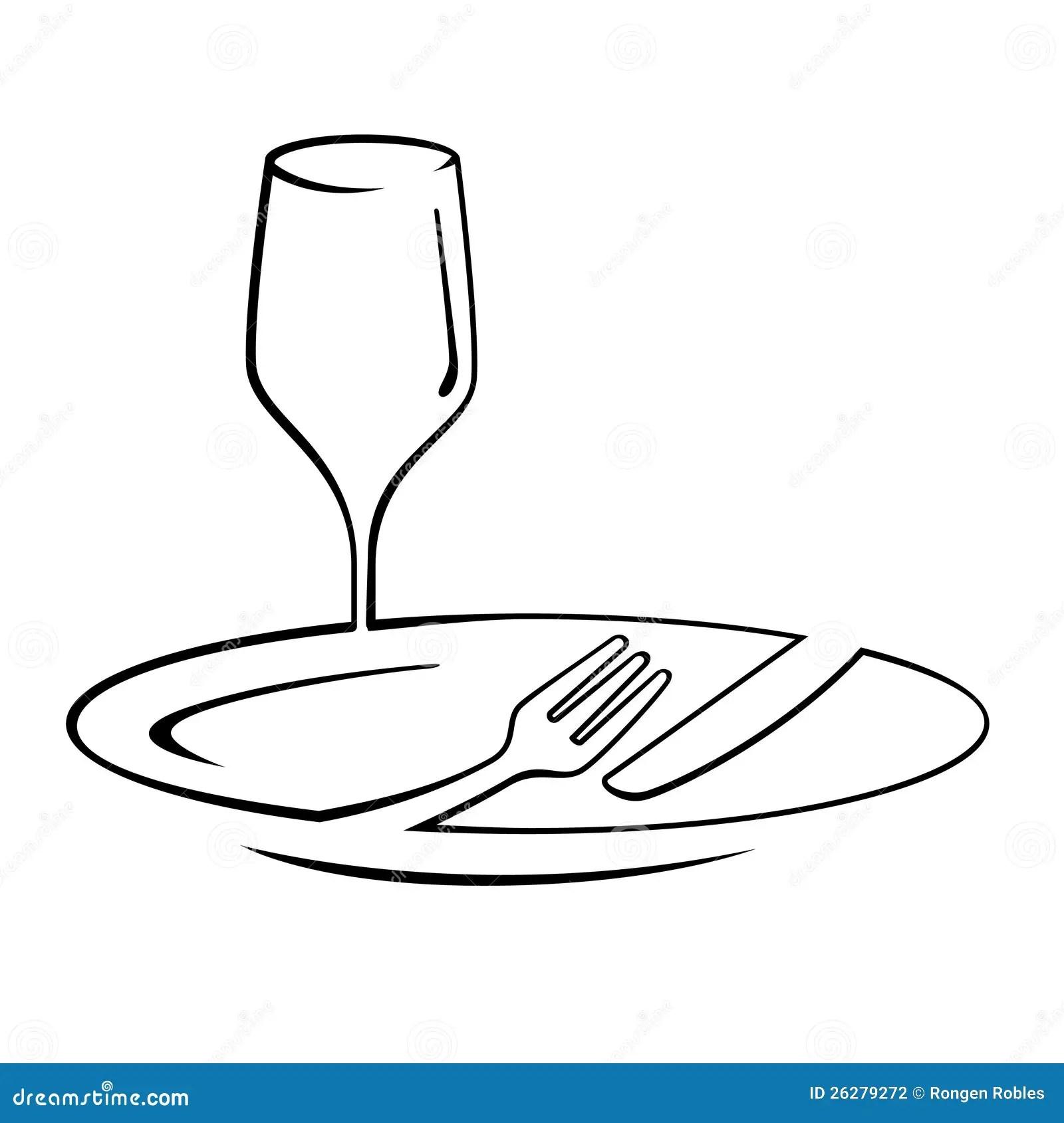 Dinner Line Art Stock Illustration Illustration Of Line