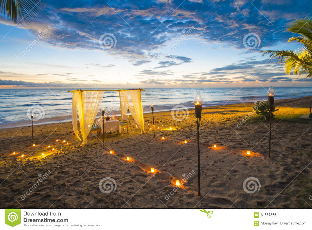 Dinner Set Up On The Beach Sunset Time Stock Photo Image Of Food Dining 61567566