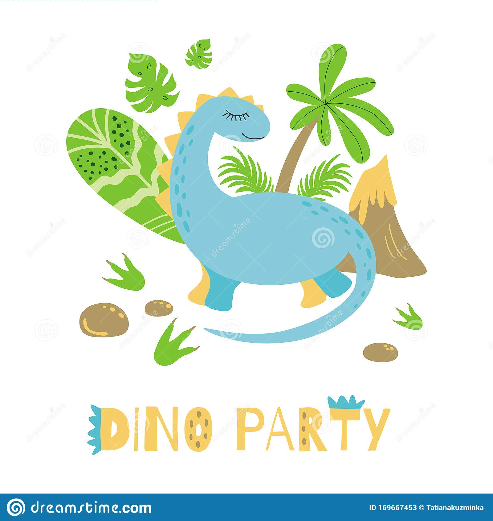 https www dreamstime com dino party invitation card poster cute dinosaur bright colors vector template text cartoon kids style happy birthday image169667453