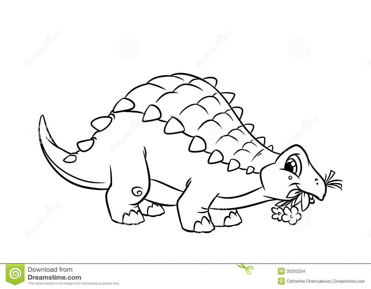 Dinosaur Ankylosaurus Coloring Pages Stock Illustration