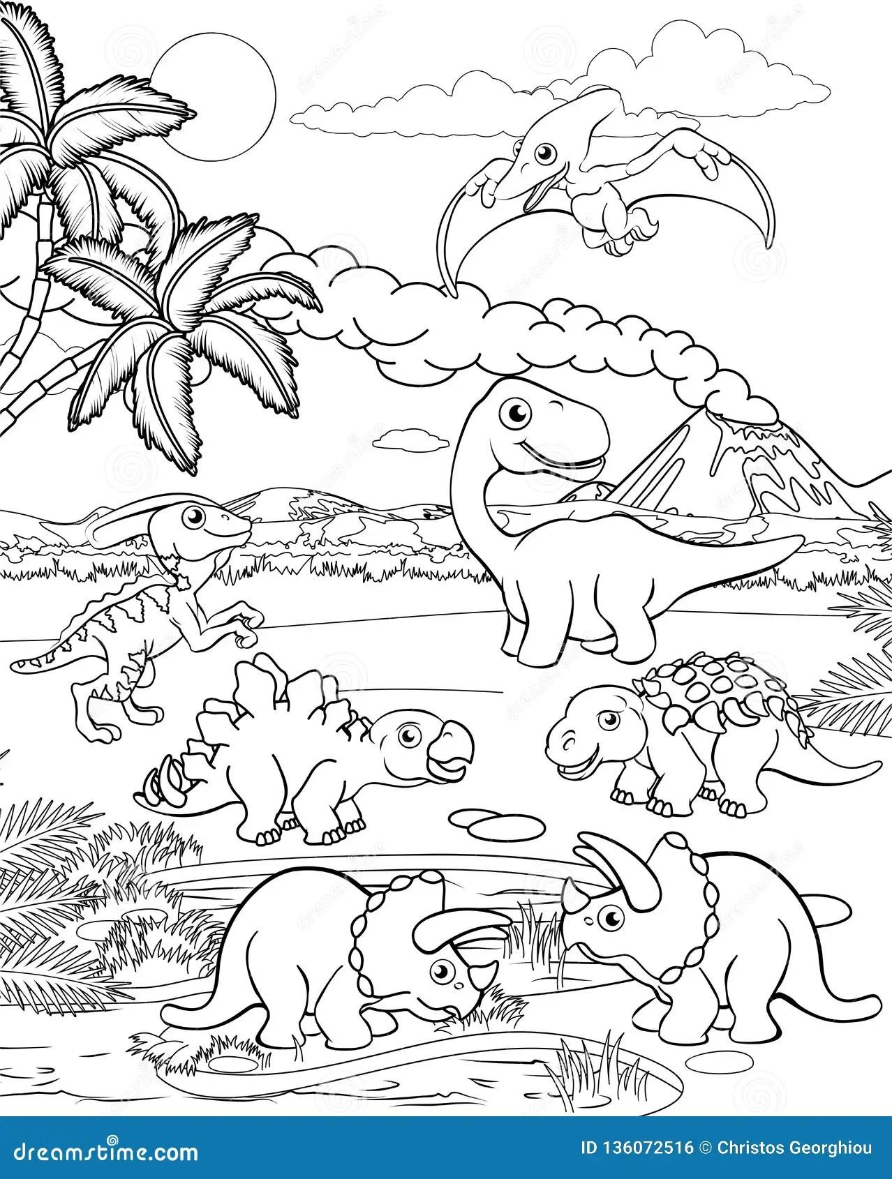 Paisaje Pintar Dinosaurios Para Colorear - Novocom.top