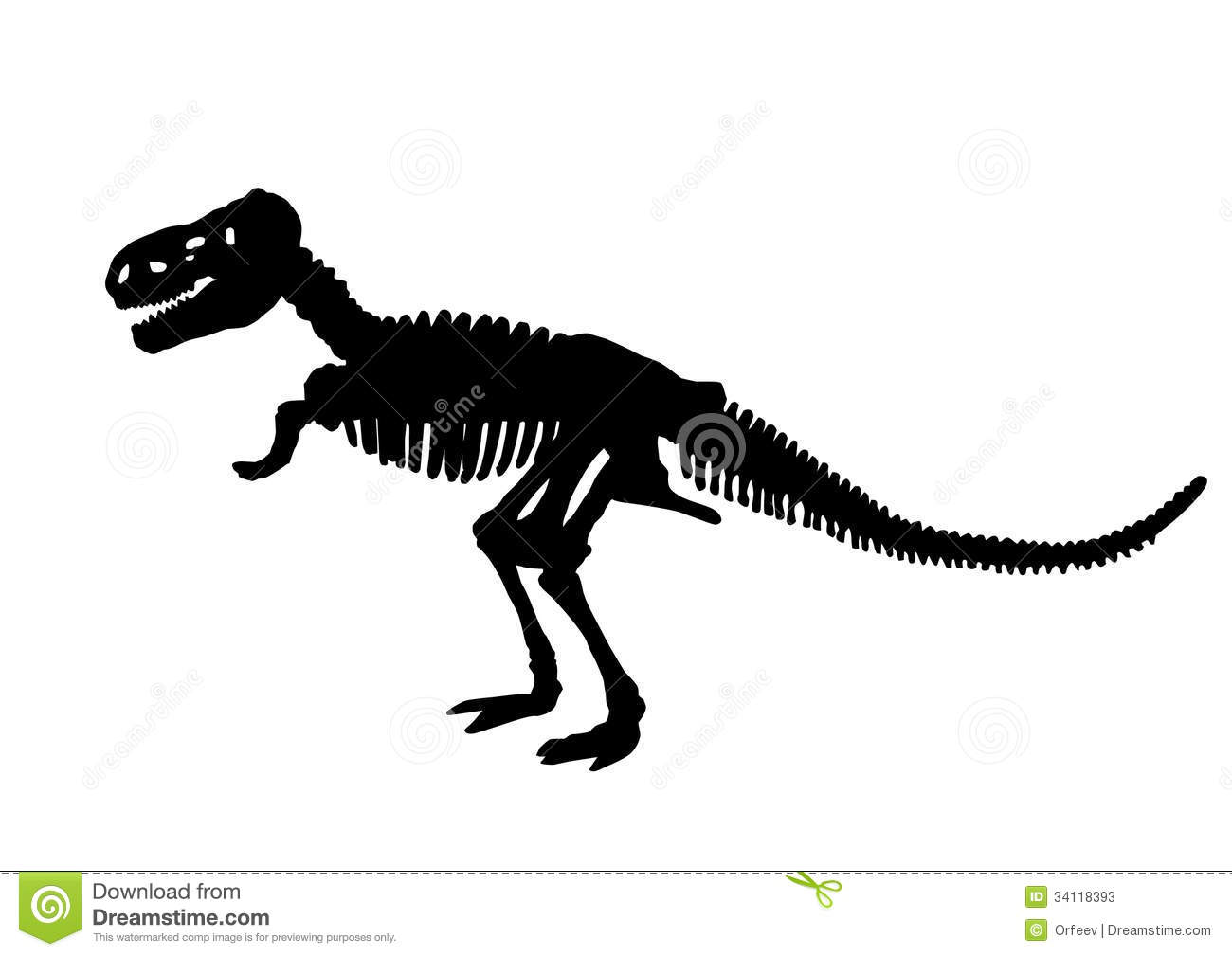 Dinosaur Skeleton Silhouette Stock Vector