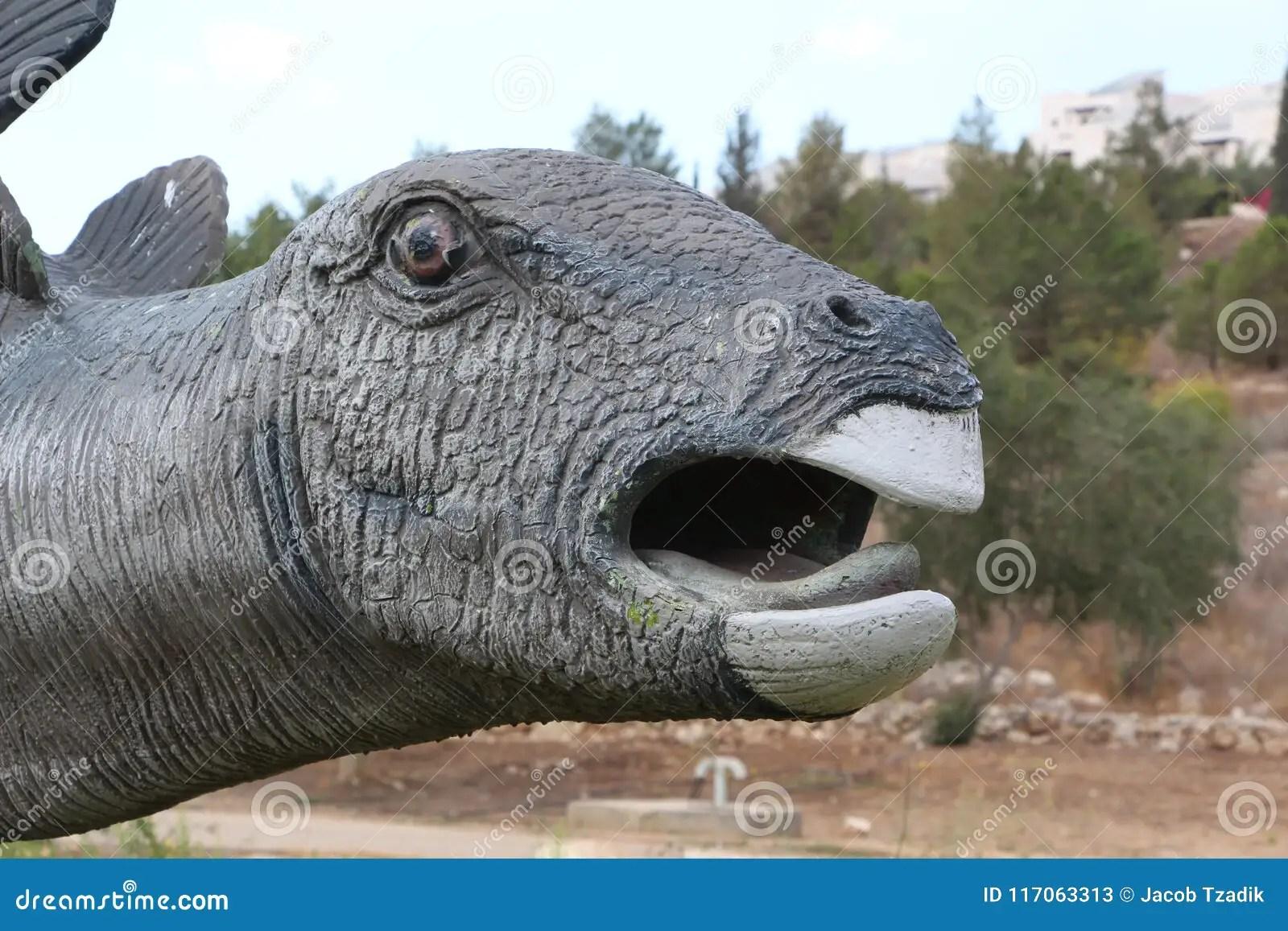 dinosaur statue head from