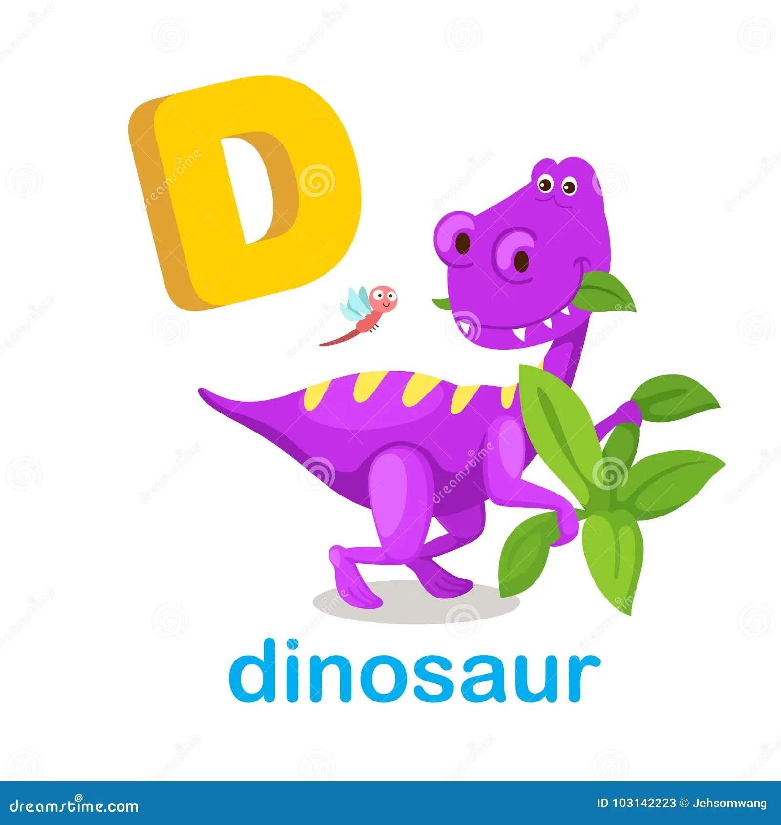 Dinosauro Della Lettera D Di Alfabeto Isolato