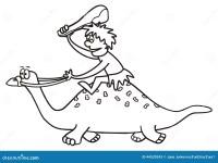 Dinosauro Ed Uomo Preistorico Illustrazione Vettoriale