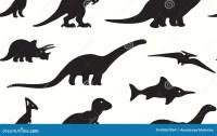 Dinosaurs Black Silhouettes On White Background. Seamless ...